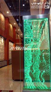 آبنمای حبابی ورتکس 60*1.80 اجرا شده در ورودی رستوران